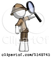 White Explorer Ranger Man Inspecting With Large Magnifying Glass Facing Up