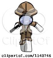 White Explorer Ranger Man Looking Down Through Magnifying Glass