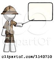 White Explorer Ranger Man Giving Presentation In Front Of Dry Erase Board