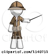 White Explorer Ranger Man Teacher Or Conductor With Stick Or Baton Directing