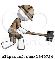 White Explorer Ranger Man Hitting With Sledgehammer Or Smashing Something