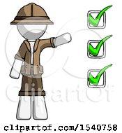 White Explorer Ranger Man Standing By List Of Checkmarks