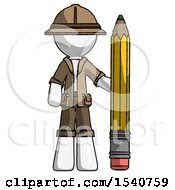 White Explorer Ranger Man With Large Pencil Standing Ready To Write