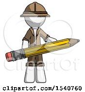 White Explorer Ranger Man Writer Or Blogger Holding Large Pencil
