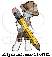 White Explorer Ranger Man Writing With Large Pencil