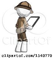 White Explorer Ranger Man Looking At Tablet Device Computer Facing Away