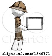 White Explorer Ranger Man Show Tablet Device Computer To Viewer Blank Area