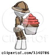 White Explorer Ranger Man Holding Large Cupcake Ready To Eat Or Serve