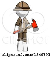 White Explorer Ranger Man Holding Red Fire Fighters Ax