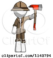 White Explorer Ranger Man Holding Up Red Firefighters Ax
