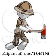 White Explorer Ranger Man With Ax Hitting Striking Or Chopping