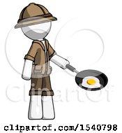 White Explorer Ranger Man Frying Egg In Pan Or Wok Facing Right