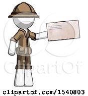 White Explorer Ranger Man Holding Large Envelope