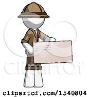 White Explorer Ranger Man Presenting Large Envelope