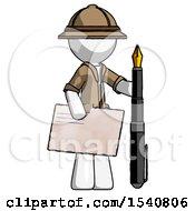 White Explorer Ranger Man Holding Large Envelope And Calligraphy Pen