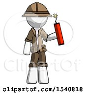 White Explorer Ranger Man Holding Dynamite With Fuse Lit