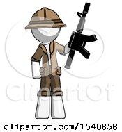 White Explorer Ranger Man Holding Automatic Gun