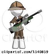 White Explorer Ranger Man Holding Sniper Rifle Gun