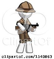 White Explorer Ranger Man Tommy Gun Gangster Shooting Pose