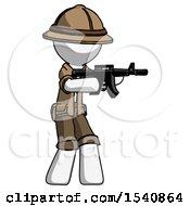 White Explorer Ranger Man Shooting Automatic Assault Weapon