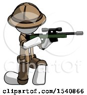 White Explorer Ranger Man Kneeling Shooting Sniper Rifle