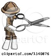 White Explorer Ranger Man Holding Giant Scissors Cutting Out Something