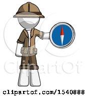 White Explorer Ranger Man Holding A Large Compass