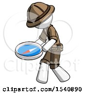 White Explorer Ranger Man Walking With Large Compass