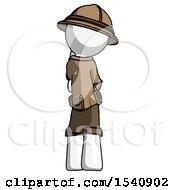 White Explorer Ranger Man Thinking Wondering Or Pondering Rear View