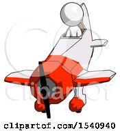 White Design Mascot Man In Geebee Stunt Plane Descending Front Angle View
