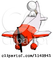White Design Mascot Woman In Geebee Stunt Plane Descending Front Angle View