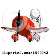 White Design Mascot Man Flying In Geebee Stunt Plane Viewed From Below