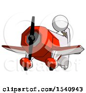 White Design Mascot Woman Flying In Geebee Stunt Plane Viewed From Below