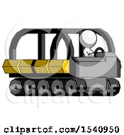 White Design Mascot Man Driving Amphibious Tracked Vehicle Side Angle View