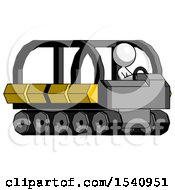 White Design Mascot Woman Driving Amphibious Tracked Vehicle Side Angle View