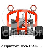 White Design Mascot Man Riding Sports Buggy Front View