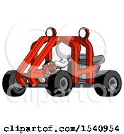 White Design Mascot Man Riding Sports Buggy Side Angle View