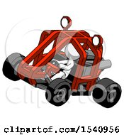 White Design Mascot Man Riding Sports Buggy Side Top Angle View
