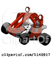 White Design Mascot Woman Riding Sports Buggy Side Top Angle View