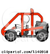 White Design Mascot Man Riding Sports Buggy Side View