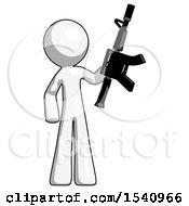 White Design Mascot Man Holding Automatic Gun