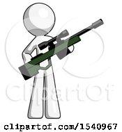 White Design Mascot Man Holding Sniper Rifle Gun
