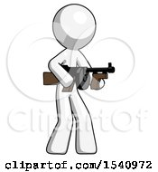 White Design Mascot Man Tommy Gun Gangster Shooting Pose