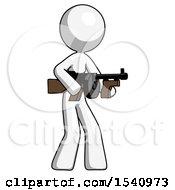White Design Mascot Woman Tommy Gun Gangster Shooting Pose