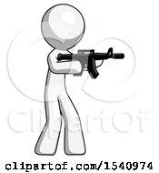 White Design Mascot Man Shooting Automatic Assault Weapon