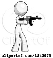 White Design Mascot Woman Shooting Automatic Assault Weapon