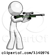 White Design Mascot Man Shooting Sniper Rifle