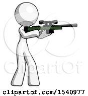 White Design Mascot Woman Shooting Sniper Rifle