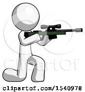 White Design Mascot Man Kneeling Shooting Sniper Rifle
