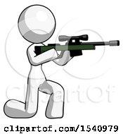 White Design Mascot Woman Kneeling Shooting Sniper Rifle